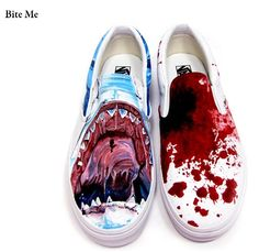 These are custom shoes made to celebrate shark week.