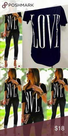 LOVE Black Over-The-Shoulder tshirt!! also available in white (scroll through listings) HOT item!! ---- runs small Words To Live By Apparel Tops Tees - Short Sleeve