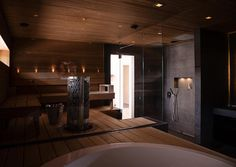 Sauna in the bathroom Exterior Design, Interior And Exterior, Sauna Design, Finnish Sauna, Steam Sauna, Home Id, Glass Facades, Saunas, Xiamen
