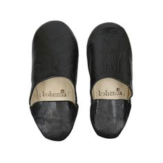 Leather Moroccan Babouche Slippers - Black 60