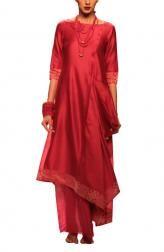 Indian Fashion Designers - Myoho - Contemporary Indian Designer Clothes - MYO-AW14-MYO-301 - Red Embroidered Drape Dress
