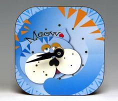 Blue Cat Mini Magnet Clock