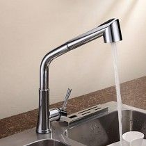 Chrome Finish Single Handle Contemporary Pull Out Kitchen Tap
