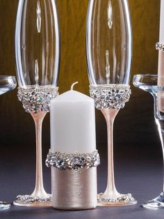 Personalized Ivory Wedding Glasses Engraved Champagne Glasses Ivory Unity Candle Set Wedding Champagne Flutes Wedding Flutes for Bride Groom Bride And Groom Glasses, Wedding Wine Glasses, Diy Wine Glasses, Decorated Wine Glasses, Wedding Champagne Flutes, Painted Wine Glasses, Champagne Glasses, Gold Champagne, Rose Gold Centerpiece