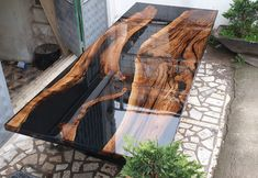 Special order for Elizabet from USA - Diy tisch - Epoxy Ideas Epoxy Wood Table, Wooden Dining Tables, Diy Resin Table, Diy Table, Wood Table Design, Dining Table Design, Diy Tisch, Resin Furniture, Furniture Design