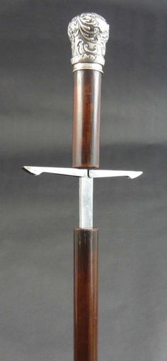 Sword Cane Silver Topped With Spring Loaded Quillions Date: 1870 Country: French