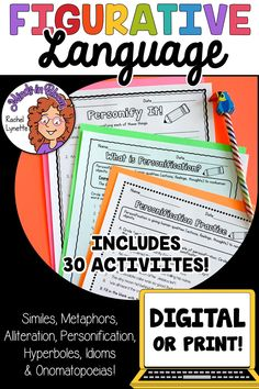 Figurative language is SUCH a fun English language arts topic to tackle with students! Kids love learning about onomatopoeias, hyperboles, idioms, personification, and more because they tend to be so silly and fun to read and write. This resource pack includes a variety of printables or Google Classroom digital versions that you can use to teach and practice figurative language in your upper elementary classroom. You definitely want to click through to grab this ELA activity pack for your class! Writing Resources, Teaching Writing, Reading Workshop, Reading Skills, Figurative Language Activity, Alliteration, Mentor Texts, English Language Arts, Language Activities