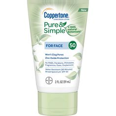 Coppertone Pure & Simple Mineral Sunscreen Lotion for Face SPF 50 Pure Simple, Simple Face, Broad Spectrum Sunscreen, Face And Body, Sensitive Skin, Cleanser, Serum, The Balm, Pure Products