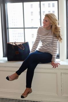 What works: The fitted but not tight cut of the sweater. Colors. Flats. // I like: the easy but classic style of this. Comfortable to wear while still looking pulled together.