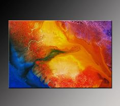 Abstract Painting Abstract Art Blue Yellow Orange by VivianaFleing