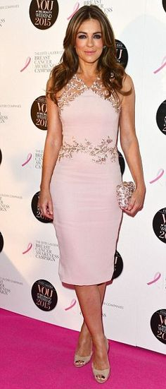 Elizabeth Hurley in a shape-hugging pink dress at YOU magazine's charity event