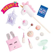 Make slumber parties magical with the Our Generation Sleepover Party Set for dolls with a unicorn hobby horse, sweet snacks, and cute accessories! Teen Party Games, Sleepover Party, Slumber Parties, Sleepover Activities, Ropa American Girl, American Girl Doll Sets, Og Dolls, Girl Dolls, Unicorn Hobby Horse