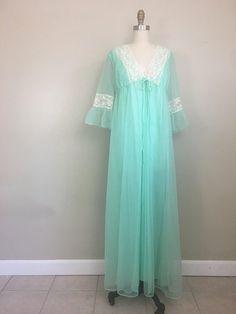 ec43f367c 1960s Mint Green Nylon Lace Negligee and Chiffon Robe Set by Mistee Size  Medium Large