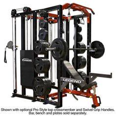 The Legend Fitness Functional Trainer Fusion Half Cage This versatile cage combines our popular Performance Series Half Cage with our dual stack Functional Trainer. Home Gym Garage, At Home Gym, Home Gym Equipment, No Equipment Workout, Fitness Equipment, Workout Gear, 300 Workout, Cable Workout, Training Equipment