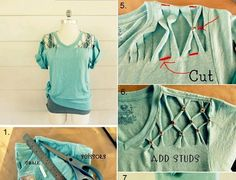 Turn a basic summer t-shirt into a chic studded one in no time with just a few tools. You can do this in about 20 minutes and if you don't