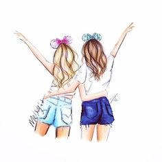 BFF Art 💘 A journey is best measured in friends, rather than miles. Best Friend Drawings, Bff Drawings, Tumblr Drawings, Amazing Drawings, Disney Drawings, Best Friend Sketches, Pretty Drawings, Bff Pics, Friend Pictures