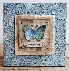 Butterfly canvas with Darkroom Door stamps by Rachel Greig