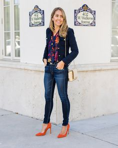 Tweed jacket, floral print blouse, dark denim, bright color heels