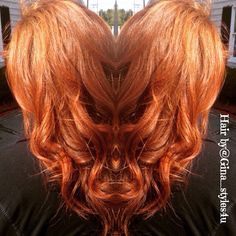 Fall red copper long hair multidimensional haircolor curls highlights hair by @ginastyles4u Instagram
