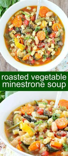Roasted Vegetable Minestrone Soup {A Wholesome Hearty Meal} soup/ minestrone/ vegetable Roasted Vegetable Minestrone Soup is filled with colorful veggies roasted in the oven to bring out their natural sweetness. Best soup to swing into Spring.