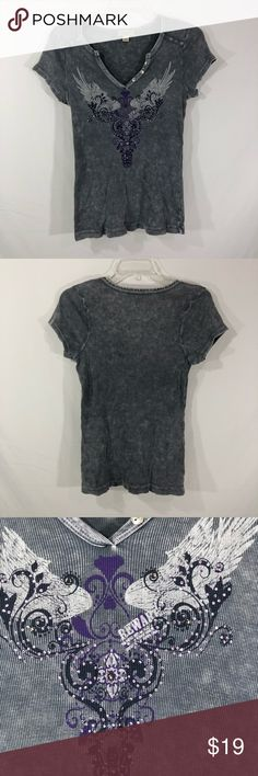 One World Graphic Tee Size L One World Graphic Tee Size L  Gray with purple and silver screen print Metal and purple studs V neck with silver buttons Please see pictures for materials, care and measurements M27 ONE WORLD Tops Tees - Short Sleeve