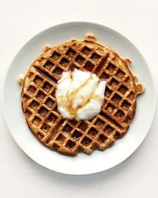 My go to post- 7 year old sleepover breakfast.  Yogurt Waffles