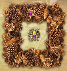 Square #Pinecone Wreath ~ #pinecones #crafts  #wreath  http://PineConeLady.com