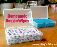 "Homemade ""Boogie Wipes"". Yes! A use for those 4,000 receiving blankets that didn't become cloth diaper wipes :)"