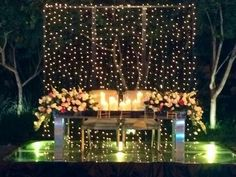 sweethearts table set up! Recreate with our Plexiglass Mirror Top Table, Stage Rentals, Twinkle Lights and your choice of Chair Rentals. Check out our website for all your event rental needs Wedding Table, Our Wedding, Dream Wedding, Von 5 Bis 7, Wedding Decorations, Table Decorations, Sweetheart Table, Twinkle Lights, Deco Table
