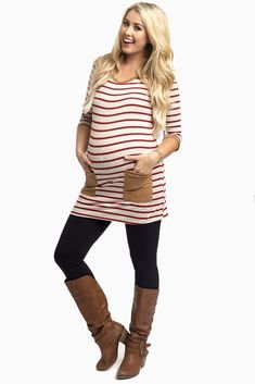 Burgundy-Striped-Suede-Pocket-Maternity-Top