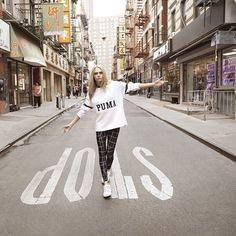 Cara Delevigne Puma model - love the white Puma sneakers!