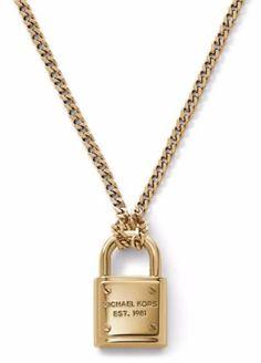 7af79a83caa5 Michael Kors Mkj3489 Padlock Pendant Gold Tone Chain Necklace