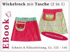 EBook Wickelrock Gr. 122-146 mit Tasche (2 in 1) von winfine auf DaWanda.com