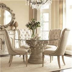 ~ another small glass table for our ultra small kitchen  Jessica McClintock Home - The Boutique Collection 5 Piece Round Glass Dining Table with Pedestal Base & Upholstered Side Chairs by American Drew