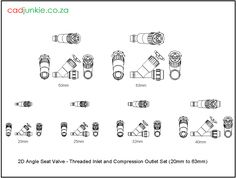 Valves: Angle Seat: Plasson Threaded inlet and Compression Outlet Set to Cad Blocks, Autocad, Angles, 2d, The Unit, Type