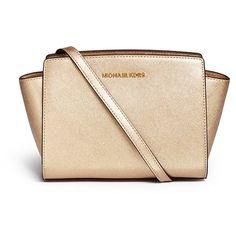 Michael Kors 'Selma' medium saffiano leather messenger bag ($330) ❤ liked on Polyvore featuring bags, messenger bags, metallic, michael kors, courier bag, metallic bag, messenger bag and beige bag