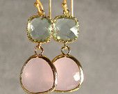 Tanzanite and Prasiolite Glass Silver Earrings, Silver Bridesmaid Earrings, Silver Earrings, Bridesmaid Earrings (986-3225W). $28.00, via Etsy.