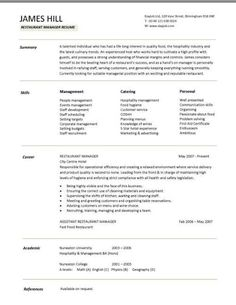 This Restaurant Resume Sample Will Show You How To Demonstrate Your Skills  To Potential Employers In The Hospitality And Catering Sector: