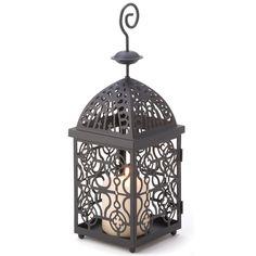 Wholesale Stylish Intricate Scroll Design Moroccan Candle Lantern: Black Birdcage Lantern