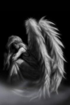 Framed Print of a Gothic Angel Sat in The Mist (Picture Poster Wings Art B&W)