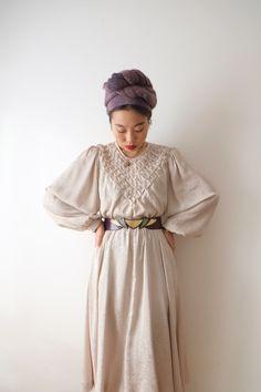 Ivory flower dress, Japanese vintage, small - medium