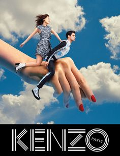 Kenzo collaborated with the creative minds behind TOILETPAPER magazine, Maurizio Cattelan, Micol Talso and Pierpaolo Ferrari, for the Fall/Winter 2013 campaign, starring Sean O'Pry and Japanese actress Rinko Kikuchi posing in a surreal and colorful world. Kenzo, Sean O'pry, Rene Magritte, Fashion Advertising, Advertising Campaign, Guerrilla Advertising, Retro Advertising, Advertising Design, Anuncio Perfume