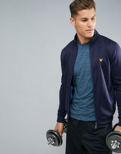 Lyle & Scott Fitness Steel Zip Up Sweater in Navy - Navy