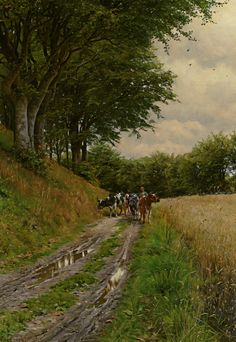 """Peder Mork Monsted (Peder Mork Mønsted) (1859-1941) The Way Home Oil On Canvas -1904 100 x 71 cm (3' 3.37"""" x 27.95"""")"""
