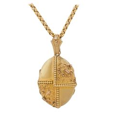 Victorian Gold Locket with Bead and Rope Wirework | From a unique collection of vintage more necklaces at https://www.1stdibs.com/jewelry/necklaces/more-necklaces/