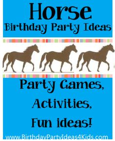 Horse theme birthday party ideas for boys and girls! Fun ideas for horse themed… Horse Theme Birthday Party, Birthday Party Games For Kids, Birthday Activities, Activities For Girls, Party Activities, Horse Party Food, Birthday Ideas, Cowgirl Party Games, Horse Party Favors