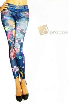 Leggings Jeggings Treggins Stretch Strumpfhose Blau Blumen Slimfit OS 34- 38