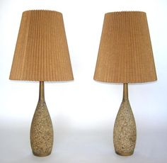#48-17 Pair of mid century cork lamps. Can be sold individually – - 7D (shade 18D) x 42H