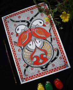 Madhubani Art, Madhubani Painting, Mehndi, Henna, Peacocks, Drawing For Kids, Indian Art, Painting Techniques, Diwali