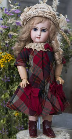 """16""""(41 cm) Antique Beautiful French Bisque Bebe Jumeau with Rare """"D"""" Mark Antique dolls at Respectfulbear.com"""
